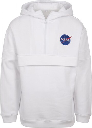 c1acdf904cee MR. TEE Pánska biela mikina Mister NASA Chest Embroidery Pull Over Hoody