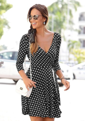b4241e211d36 LASCANA Plážové šaty čierna-biela bodkovaná - Glami.sk