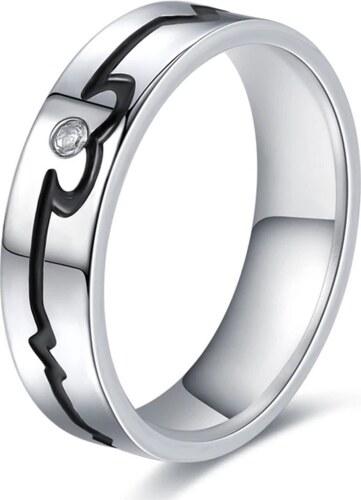 417dd7e66 Ziskoun Stříbrný prsten černá křivka EKG z chirurgické oceli se zirkonem  SR000107