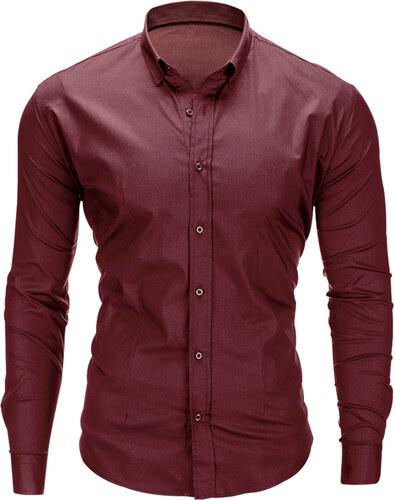 9e8232f97252 Ombre Clothing Pánska jednofarebná košeľa Drake tmavočervená - Glami.sk