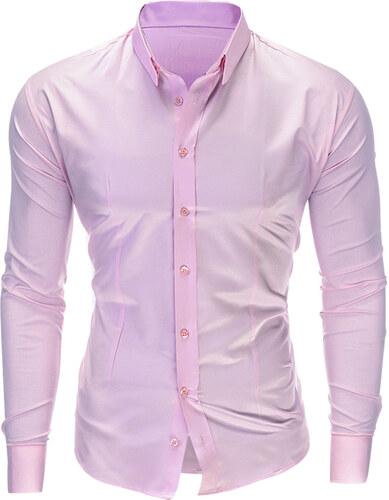 ea04ee2f7dae Ombre Clothing Pánska jednofarebná košeľa Drake ružová - Glami.sk