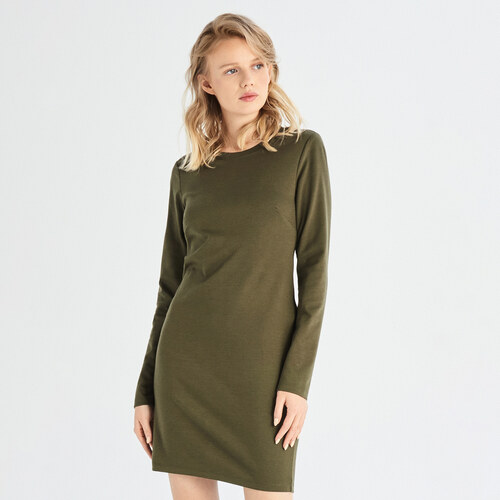 9923d48490 Sinsay - Šaty so dlhými rukávmi - Khaki - Glami.sk