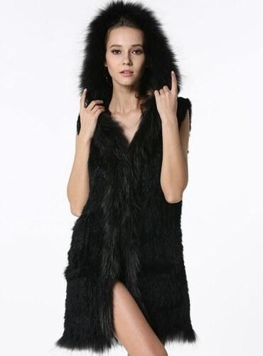 0b2448b45ef1 Kožešinová vesta pletená z králíka a mývala s kapucí - S až 6XL černá