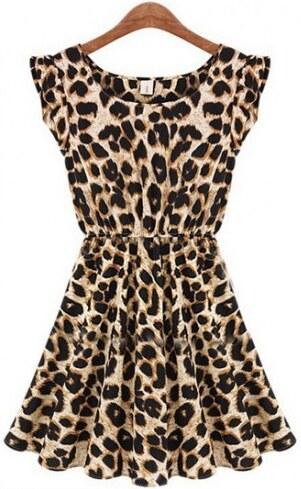 Dámské letní šaty Leoparde - hnědá