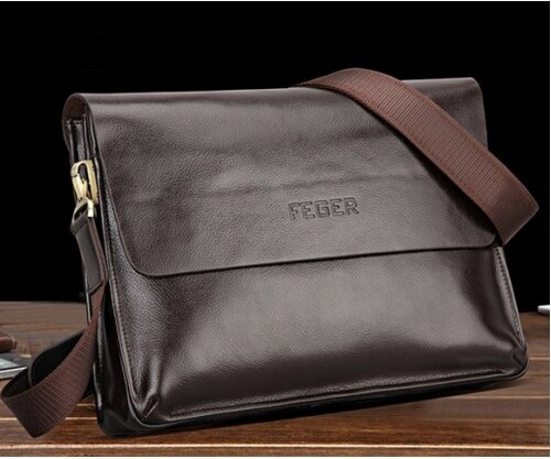 Pánská kožená taška přes rameno Feger hnědá - hnědá