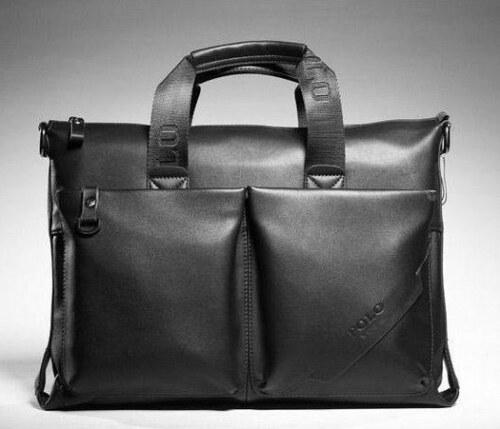 Pánská kožená taška přes rameno Polo černá - černá
