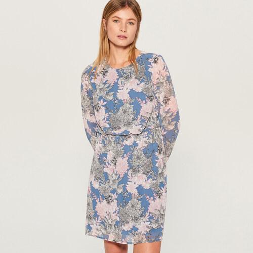 Mohito - Vzorované šaty s dlouhými rukávy - Modrá - Glami.cz cfdc2cd9236