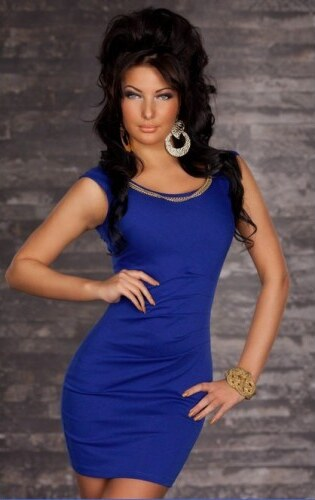 Dámské Mini Šaty Laure Modré - modrá