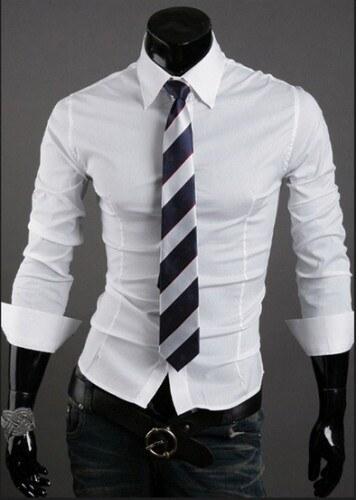 76802db8acd Pánská košile Slim Fit Vobo bílá - bílá - Glami.cz