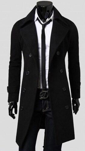 Pánský dlouhý kabát Libero černý - černá