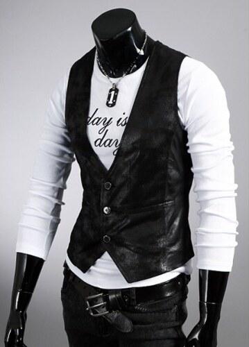Pánská kožená vesta Brawa černá - černá
