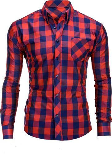 0580ca257d5 Ombre Clothing Červeno-tmavě modrá pánská károvaná košile Lamar ...
