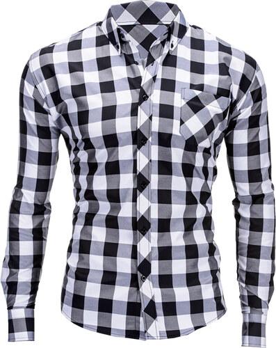 Ombre Clothing Černo-bílá pánská károvaná košile Lamar - Glami.cz 72cb85ca89