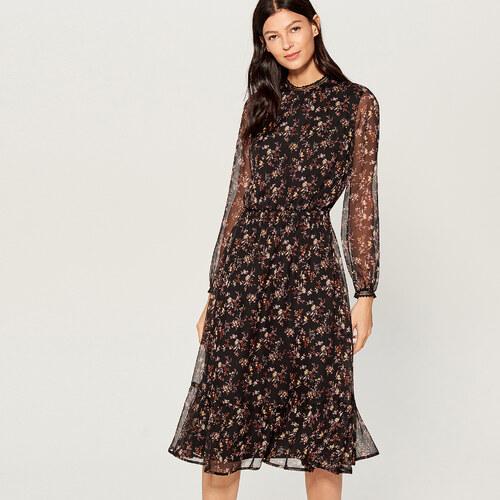 Mohito - Šifonové květované šaty - Černý - Glami.cz 57649bda788
