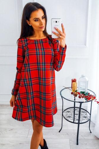 d0284278a25b PLANETA-MODY Červené kárované šaty VB4978 - Glami.sk