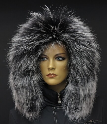 Špongr Kožešinový lem límec na kapuci z finského mývalovce 1028 BLACK    WHITE 2. JAKOST dc4422f141