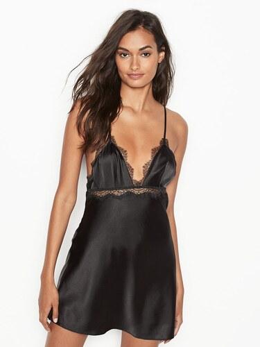 8d7a0b83d1b Victoria s Secret luxusní černá sexy noční košilka Satin   Lace Slip ...