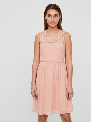 fc1ecc7bf262 Vero Moda růžové šaty s krajkou Vanessa S - Glami.cz