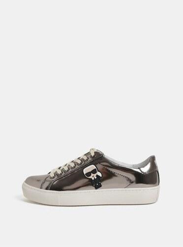 Nové Karl Lagerfeld kožené tenisky ve stříbrné barvě s metalickými odlesky  a gumovou aplikací 37 ac66101098