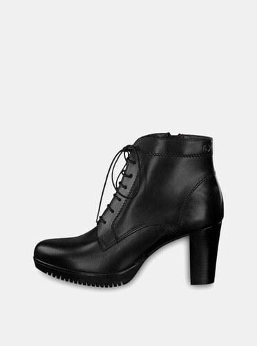 beef32275c2 Tamaris černé kožené kotníkové boty na vysokém podpatku se šněrováním 39