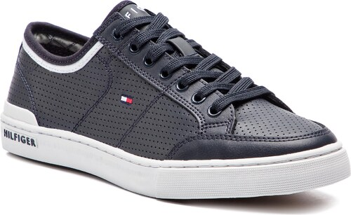 8cb322df27 Félcipő TOMMY HILFIGER - Core Corporate Leather Sneaker FM0FM00552 Midnight  403