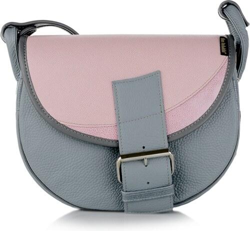 21173b7a28 Slón Torbalski dámska kožená kabelka na rameno sivo ružová Freshman ...