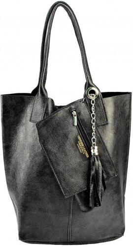 Kožená černá shopper taška na rameno melani VERA PELLE 26091 - Glami.cz 65e3cf6cd4b