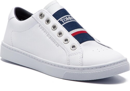 2451ad6869d99 Sneakersy TOMMY HILFIGER - Tommy Elastic City Sneaker FW0FW04019 White 100