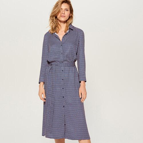 Mohito - Košilové midi šaty s potiskem - Modrá - Glami.cz e5ed6827776