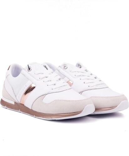 -5% Tommy Hilfiger bílé kožené tenisky Iridescent Light Sneaker  White-Rosegold - 39 7b106277df