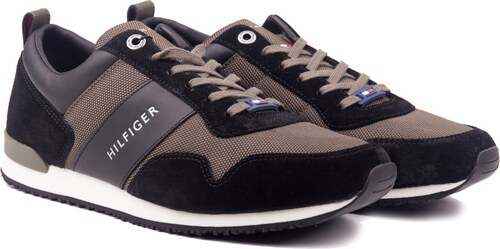 8acf5126e5 -5% Tommy Hilfiger khaki férfi tornacipő Iconic Material Mix Runner  Black/Olive Night