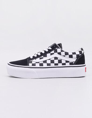 Vans Old Skool Platform (Checkerboard) Black  True White - Glami.cz 96797331c4