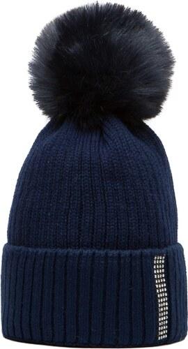 Námořnicky modrá čepice Woolk s kamínkovým páskem a modrou bambulí ... f74140131b