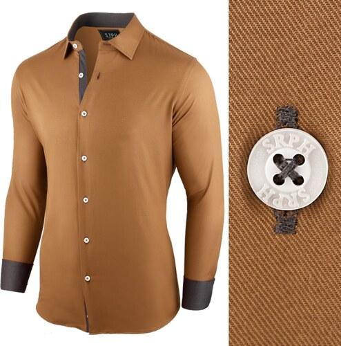 e732f644d1ff Seraph Pánska košeľa ťaviej farby s dlhým rukávom - Glami.sk