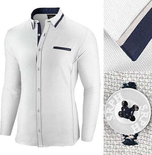f657b756f577 Seraph Biela slim fit pánska košeľa s dlhým rukávom - Glami.sk