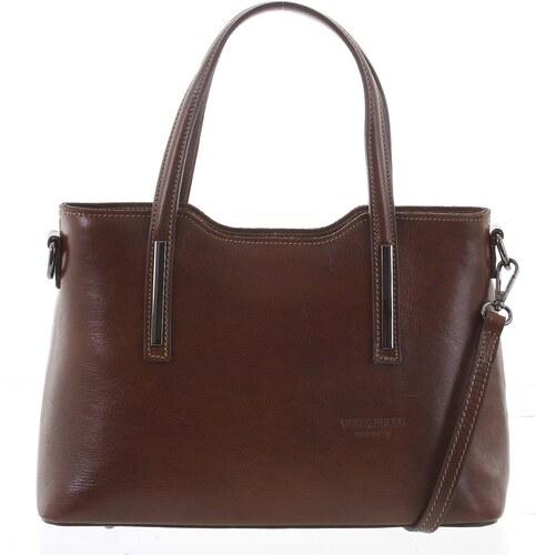 e42cbff5e2 Stredná pevná kožená kabelka hnedá do ruky - ItalY Aello hnedá ...