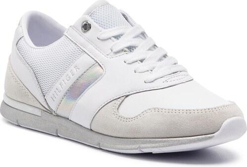 6b65bc6e18 Sportcipő TOMMY HILFIGER - Iridescent Light Sneaker FW0FW04100 White/Silver  902