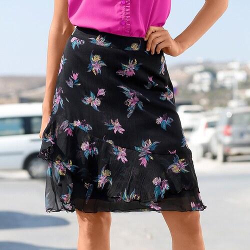 d4c633d81c4d Blancheporte Volánová sukňa s potlačou čierna zelená - Glami.sk