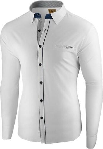 1ec6d7b8f3d6 Seraph Elegantná biela pánska košeľa s ozdobným lemom - Glami.sk