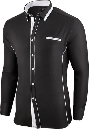 c6fffc7dc8f Seraphstore.com Černá slim fit košile Allée de Longchamp - Glami.cz