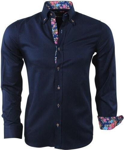 cee05ad14274 MONTANZINI Tmavomodrá pánska košeľa s kvetovaným motívom - Glami.sk