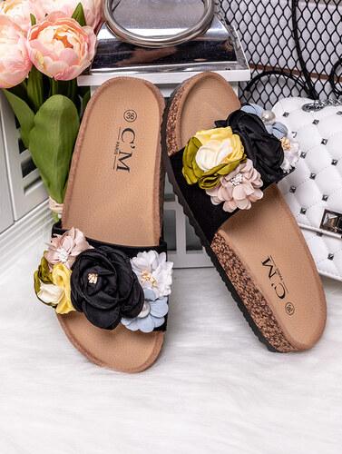 abe9ea7c0757 MODANOEMI Korkové černé pantofle s květinami PARIS 2028C - Glami.cz