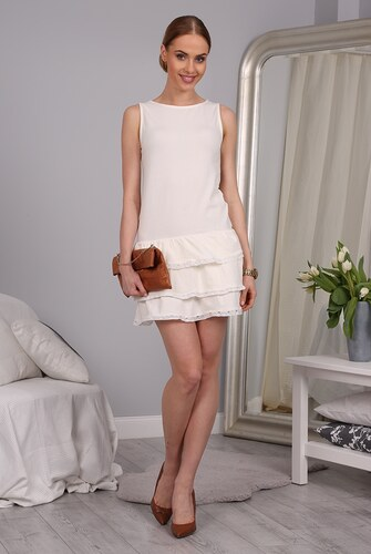 FASARDI Letné smotanové šaty s riasenou sukňou  XL - Glami.sk 48516195a2