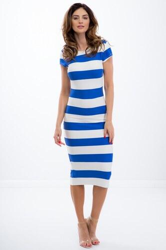 FASARDI Letné pásikavé modré midi šaty s krátkym rukávom  S - Glami.sk 581df6af85d