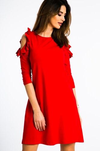 0ccc26589f FASARDI Červené šaty s výrezmi na pleciach a volánmi  L - Glami.sk