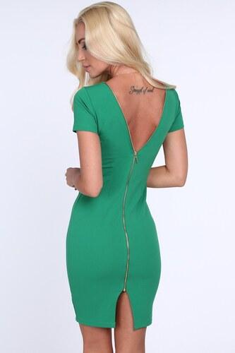 ca4394ac331d FASARDI Zelené dámske šaty so zipsom na zadnej strane  M - Glami.sk