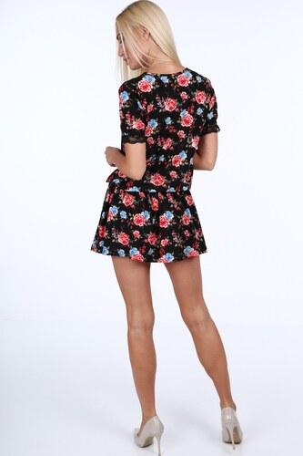 077dc2284492 FASARDI Čierno-modré kvetinové dámske mini šaty s čipkou  L - Glami.sk