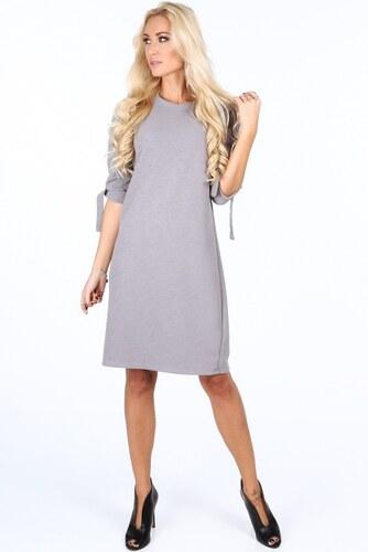 f0eec479e113 FASARDI Sivé elegantne dámske šaty s mašľami na rukávoch  S - Glami.sk