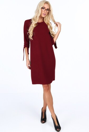 cf061251404e FASARDI Bordové elegantne dámske šaty s mašľami na rukávoch  S ...