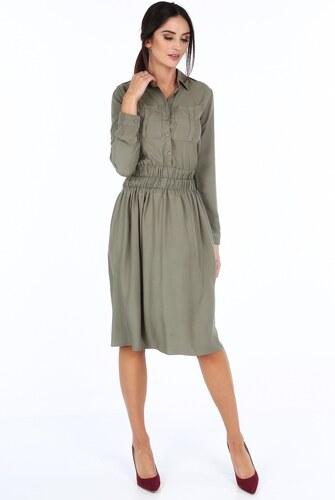 1f260b5ef FASARDI Khaki dámske šaty so širokým pásom: XL - Glami.sk